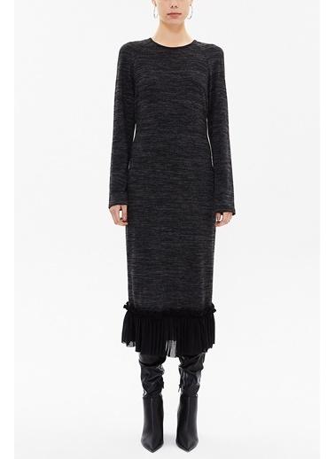 Societa Eteği Fırfırlı Örme Elbise 92159 Siyah